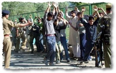 Kids And Young Men Being Lined Up For Interrogation [copyright and courtey of greater kashmir]